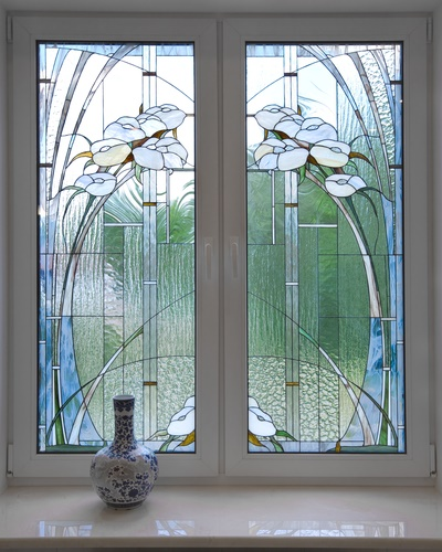 A modern stained-glass window. A modernist style.